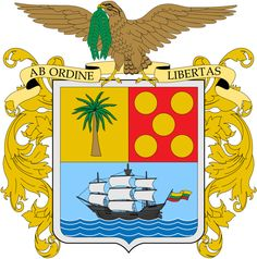 """The Coat of Arms of the Department of Bolívar is the official Coat of arms of the Department of Bolívar. The Coat of arms had been in used before 1856, but in that year the Sovereign State of Bolívar was created, and its symbols changed, The new coat of arms, would be the same as the Coat of arms of Colombia but with a red oval around it, that read """"ESTADO SOBERANO DE BOLIVAR"""". In 1886 the states were suppressed and Departments created."""