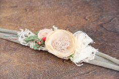 Christmas Headband Christmas Tieback Sage Cream Red Tieback