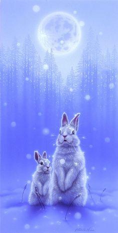 Rabbit - Painting Art by Kentaro Nishino - Nature Art & Wildlife Art - Airbrushed Wildlife Art. Animals And Pets, Baby Animals, Cute Animals, Funny Bunnies, Cute Bunny, White Rabbits, Rabbit Art, Bunny Art, Wildlife Art
