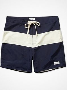 SATURDAYS SURF NYC GRANT STRIPED SWIM SHORTS In the lead up to summer it's time to turn your attention to your beachwear and these striped swim shorts from Saturdays Surf NYC are the stylish choice. The sleek navy and cream design ensures they'll be a versatile addition to your holiday wardrobe. Wear them with flip flops and sunglasses to exude West Coast cool, adding a tee or sweatshirt for an ocean-view lunch. www.basouk.com
