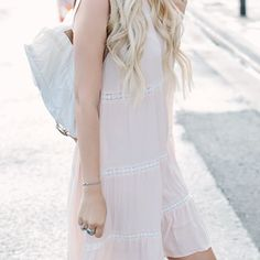 """Urban Outfitters boho dress Pretty baby pink boho dress with white embroidered lace details. From Urban Outfitters, brand is Little White Lies. Since it is loose fit it also fits a small and possibly medium. Approx 19"""" underarm, 40 inch length. Has pockets. Unlined and a slip is necessary.. 100% viscose. Images from A Little Dash of Darling. Urban Outfitters Dresses Midi"""