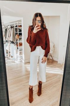 East thanksgiving outfit Source by simple outfits cold weather Booties Outfit, Outfit Jeans, Crop Pants Outfit, White Culottes Outfit, Brown Shoes Outfit, Jeans Outfit For Work, Midi Skirt Outfit, Look Fashion, Street Fashion