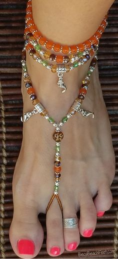 Barefoot sandals with mermaid charms ✿ Moon Over Mermaids ✿ Foot Jewelry Crochet Barefoot Sandals, Beaded Sandals, Beaded Anklets, Beaded Jewelry, Jewellery, Hippie Shoes, Homemade Bracelets, Ankle Chain, Beautiful Toes