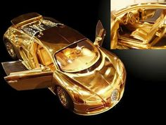 Bugatti Veyron model made of gold and diamonds is more expen.-Bugatti Veyron model made of gold and diamonds is more expensive than the car itself Gold Bugatti Veyron Bugatti Veyron Gold, Gold Lamborghini, Lamborghini Veneno, Bugatti Cars, Most Expensive Car, Sweet Cars, Car Wheels, Amazing Cars, Awesome