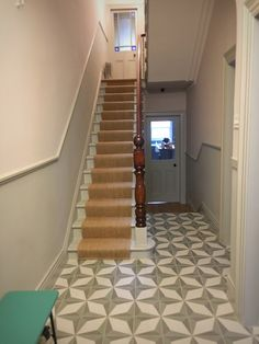 Victorian Terrace hallway, painted in Farrow & Ball Lamp Room Grey And Peignoir, with hallway tiles from Terrazzo Tiles and Alternative Flooring sisal stair runner