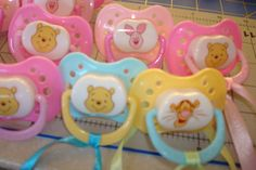 Winnie the Pooh Baby Shower Game; Don't Say Baby Pacifier Game; Winnie the Pooh Themed Unisex Shower; Pooh, Eyore,& Tigger Pacifiers Favors by on Etsy Baby Shower Favors Girl, Baby Shower Princess, Baby Shower Games, Dont Say Baby Game, Winnie The Pooh Themes, Baby Binky, Baby Games, Baby Bottles, Pacifiers