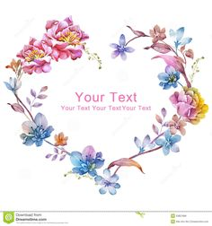 watercolor-floral-illustration-collection-flowers-arranged-un-shape-wreath-perfect-flower-decoration-as-background-53821896.jpg (1300×1390)
