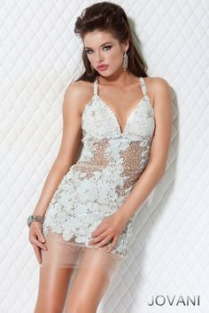 Short dress with Sheer Panel Bodice, Style 14338