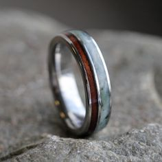 Green Jade Ring with Natural Redwood in Titanium Wedding Band