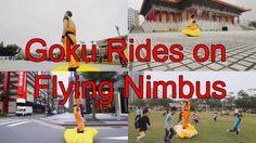 Awesome Yet Weird Cosplay of Goku with his Flying Nimbus on Taipei Street