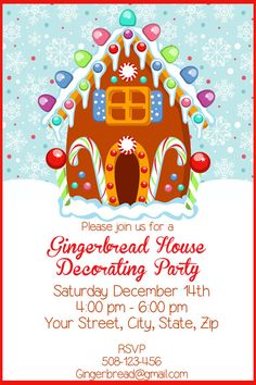 Gingerbread House Decorating Party DIGITAL by SandInMyShoesDesigns, $8.50