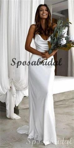 Spaghetti Straps Unique Design Elegant Simple High Quality Long Prom Dresses, Beach Wedding Dresses, PD1396 Muslim Wedding Dresses, Pretty Wedding Dresses, Wedding Dresses Plus Size, Elegant Wedding Dress, Elegant Dresses, Casual Wedding, Wedding Gowns, Wedding Dressses, Backless Wedding