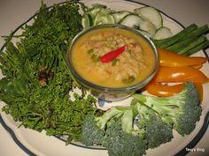 Tuk Kroeung Sadao ||  Tilapia, mud fish or cat fish,  lime juice, garlic, Thai chilies, tamarind concentrate or ripe tamarind juice, palm sugar, roasted crush peanut, cooked prahok, Fish sauce, pea, eggplants