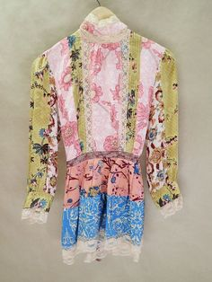 Plenty by Tracy Reese Womens Silk Blouse Patches Lace Boho Rhinestones Size 6 #plentybyTracyReese #Blouse #Career