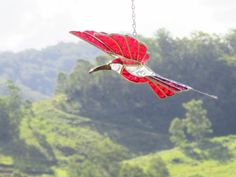 Red Textured Glass 3D bird, Stained Glass Bird.Sparkling Glass Free Postage Australiawide.