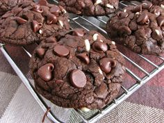 Double chocolate chip cookies always sound like a wonderful idea to me, but so often they just don't deliver that decadent, intense chocola...