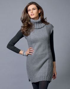 6 13 dress pattern by fil katia Moda Crochet, Knit Crochet, Long Sweaters For Women, Look Street Style, Diy Dress, Knit Fashion, Wool Dress, Elegant Outfit, Cheap Dresses