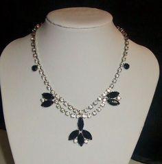 286~Vintage Black & Clear Rhinestone Cluster Choker Necklace With Dangle Fringe* #Choker https://www.facebook.com/AColourfulPast