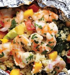 Grilled Shrimp With Avocado-Mango Salsa --made in foil (bake in oven or on the grill), use quinoa instead of couscous