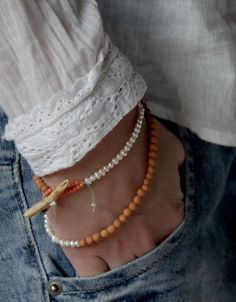 necklace / bracelet - freshwater pearls + hand-made clay beads + pine twig clasp + silk thread - ray of light