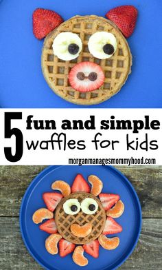 Make frozen waffles more fun by arranging treats and fruit on one to make a breakfast your kids will love!