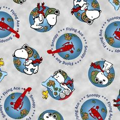 Snoopy Globe Fabric - Peanuts - Flying Ace
