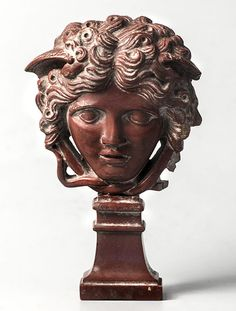 """archaicwonder: """" Roman Glass Medusa, Century AD Molded glass in the shape of facing Medusa, according to the type known as Medusa Rondanini, on the original pedestal. Roman History, Art History, Ancient Artefacts, Turn To Stone, Classical Antiquity, 1st Century, Ancient Rome, Ancient History, Mythical Creatures"""