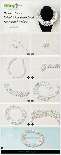 Bridal White Pearl Bead Statement Necklace