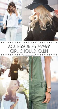 Watches, hats, handbags, belts.. the list goes on and on. Make sure you have these 10 accessory staples in your wardrobe. #accessories #accessorize #style
