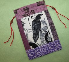 Tarot Card Bag Lavender Raven 6X9 Forest Magick by wildercraft, $15.00