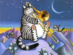 Cat Dreams : Amusing Cat Cartoons by Bernard Kliban - Cat Dreams : Moonlight… I Love Cats, Cool Cats, Kliban Cat, Gatos Cool, Matou, Kinds Of Cats, Trombone, Here Kitty Kitty, Cartoon Pics