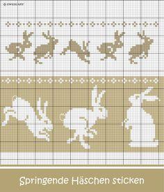 Hoppelnde Oster-Häschen sticken #Sticken #Kreuzstich / #Ostern; #Embroidery #Crossstitch / #Easter/ #ZWEIGART