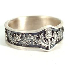 Scottish Thistle Ring with Leaves in Eternity Wedding Ring Design in Sterling Silver, Made in Your Size CR-5043
