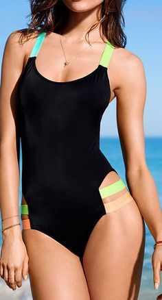 Rainbow-Bright Cutout One-Piece Swimsuit