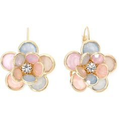 Mixit™ Multicolor Pastel Stone Gold-Tone Flower Cluster Earrings found on Polyvore featuring jewelry, earrings, accessories, colorful jewelry, multi colored earrings, multi color jewelry, gold tone earrings and multi color earrings