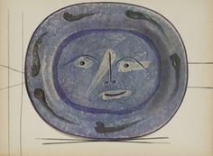 "Pablo Picasso ""Céramique Madoura - Faune Bleu Gris"" support lines specially drawn by Picasso, ceramic picture sticked with a special technic in order to preserve the relief size"