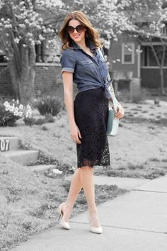 I want in on this lace skirt trend ---> What I Wore: True Blue, Jessica Quirk, Short Sleeve Chambray and Lace Work Fashion, Spring Fashion, Fashion Ideas, Women's Fashion, What I Wore, What To Wear, Black Lace Skirt, Eyelet Skirt, Navy Lace