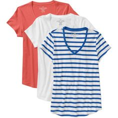 Faded Glory Women's Cotton Short-Sleeve V-Neck Tee, 3-Pack