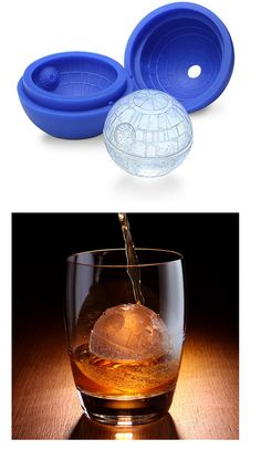 Ice Death Star Cubes.  If Liam knew these existed he would geek out!  Oh, who am I kidding?  I'm geeking out right now. Ice Cube Molds, Ice Cubes, Take My Money, How To Get Money, Kitchen Gadgets, Kitchen Stuff, Good Things, Star Wars Day, Death Star