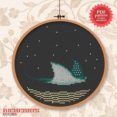 Sting ray day PDF cross stitch pattern by Richearts on Etsy, $3.00