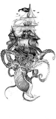 Résultats de recherche d'images pour « kraken and ship tattoo Neue Tattoos, Body Art Tattoos, Tattoo Drawings, Hand Tattoos, Sleeve Tattoos, Ship Tattoo Sleeves, Tattoo Ship, Sea Tattoo Sleeve, Viking Ship Tattoo