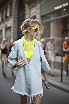 neon and pale grey   Street style: Paris A/W 12-13 haute couture | Harper's BAZAAR