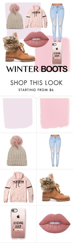"""🌺Winter boots🌺"" by redhead1a ❤ liked on Polyvore featuring Jocelyn, Hollister Co., Alexandre Birman, Casetify and Lime Crime"