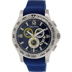 Men's Wrist Watches - Nautica Mens N19602G NST 600 Chrono Carving Sport Classic Stainless Steel Watch with Blue Band *** See this great product. (This is an Amazon affiliate link)