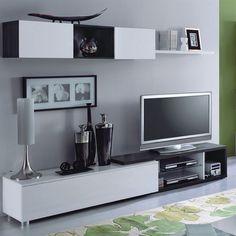 ensemble tv design laqué noir et blanc alaska | tvs, design and alaska - Composition Meuble Tv Design