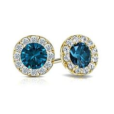 14k Yellow Gold Halo Round Blue & White D/VVS1 Stud Earrings 2.00 ct tw by JewelryHub on Opensky