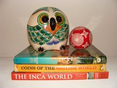 Large Vintage Mexican Pottery OWL Piggy Bank Large by studio180, $22.00