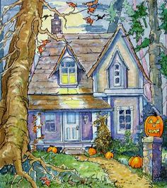 """""""Just Waiting for Halloween Storybook Cottage Series"""" - Original Fine Art for Sale - © Alida Akers"""