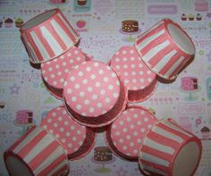 Treat Cups 12 Pink/white Polka dot Cups Use For Ice by shabbygirl2, $3.40