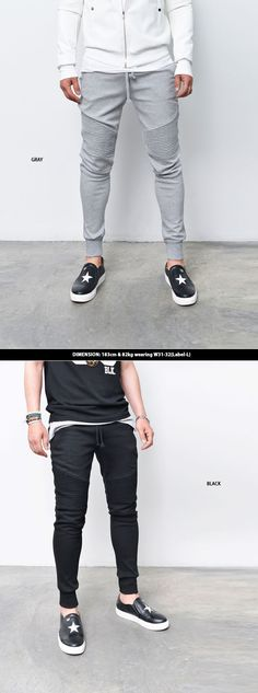 Mens Seaming Biker Cuffed Jogger Sweatpants By Guylook.com